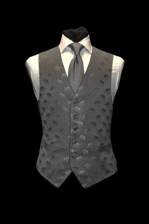Grey on grey silk jacquard waistcoat with elephants