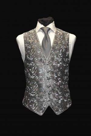 Grey and silver six-button silk embroidered waistcoat