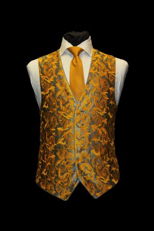 Silver and gold silk embroidered damask waistcoat