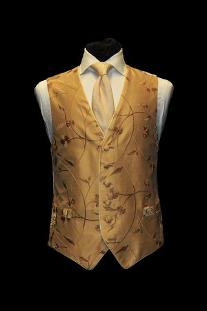 Gold on gold-embroidered waistcoat with ivory and gold velvet flowers