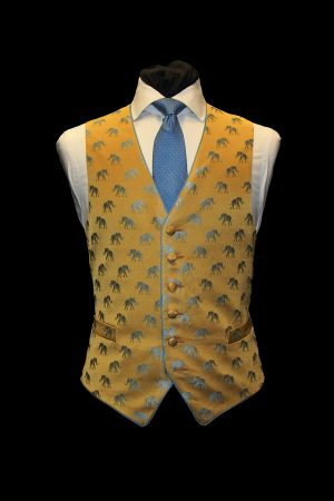 Blue and gold silk jacquard six-button elephant waistcoat