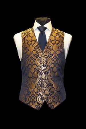 Navy blue and gold silk single-breasted brocade waistcoat