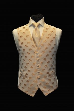 Gold silk single-breasted six-button waistcoat with gold elephants