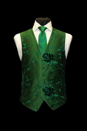 Emerald green embroidered silk six-button waistcoat with velvet flowers