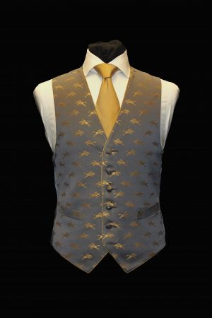 Grey and gold silk jacquard horses six-button waistcoat