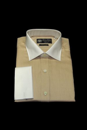 Peanut brown pure cotton white collar and cuff shirt