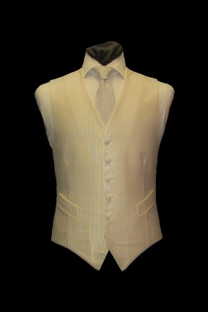 Ivory silk large basketweave six-button single-breasted waistcoat
