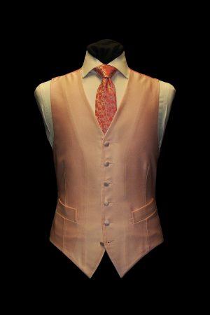 Pink silk small basketweave single-breasted waistcoat