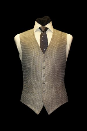 Silver silk large basketweave six-button single-breasted waistcoat