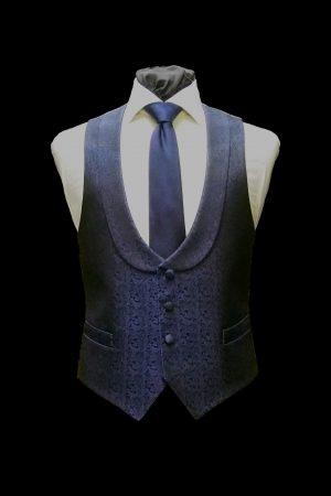 Blue silk paisley four-button dress waistcoat with lapels