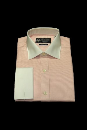 Pink basket weave pure cotton white collar and cuff shirt