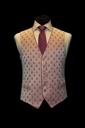 Pink on pink single-breasted silk jacquard waistcoat with bees