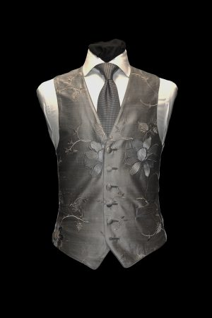 Silver silk embroidered single-breasted waistcoat with large grey flowers