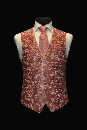 Rose pink on pink floral embroidered silk waistcoat