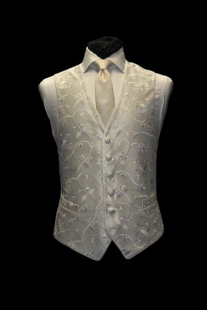 Ivory on ivory six-button silk large floral embroidered waistcoat